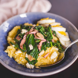 Creamy Polenta with Spring Greens and Shiitakes
