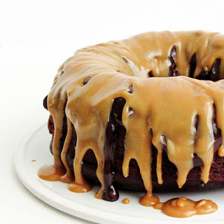 Chocolate Cake with Ganache and Peanut Butter Sauce.