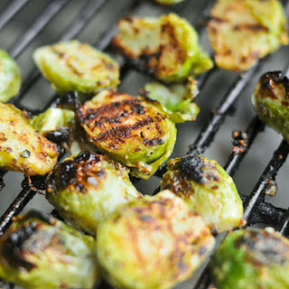 Grilled Crispy Mustard Brussels Sprouts.