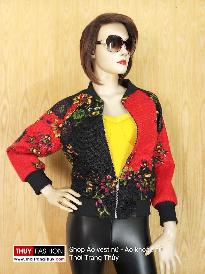 Áo bomber nữ tay giác lăng vải len V660 thời trang thủy