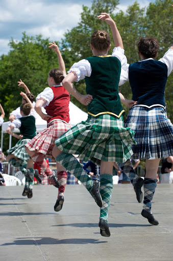 Highland dancers perform a traditional jig in Halifax, Nova Scotia.