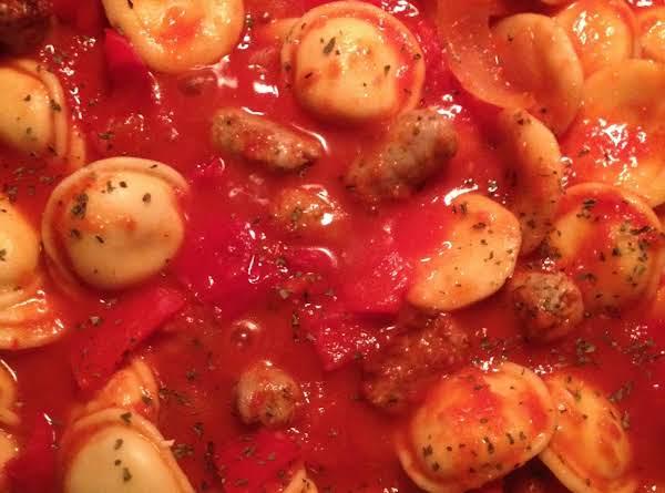Ravioli With Sausage & Peppers.  Yum!