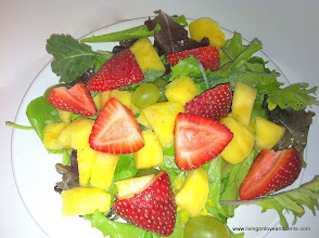 Photo: Day 12: Another favorite side is fruit with greens!