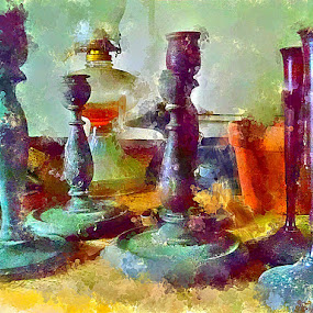 Candlesticks by Kevin Lucas - Painting All Painting ( candle, oil lamp, candlesticks, painterly, vintage, still life, vivid, candles,  )