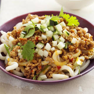 Udon Noodles with Spicy Ground Pork.
