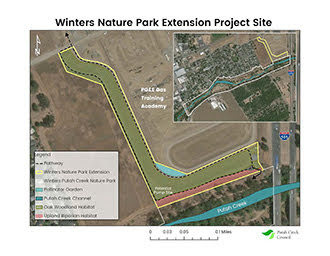 This image shows a map of the Winters Nature Park Extension Project Site