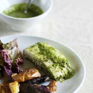 Baked Halibut with Chimichurri.
