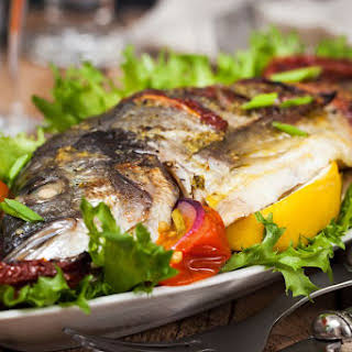 Baked Whole Fish in Garlic-Chili Sauce.