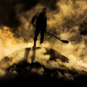from hell by Razvan Teodoreanu - People Portraits of Men ( work, woodcharcoal, worker, men, smoke )