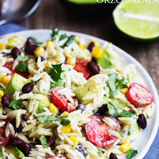 Southwest Orzo Salad with Cilantro Lime Ranch Dressing.