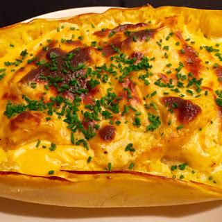 "Gooey, Creamy Baked ""Mac and Cheese"" Spaghetti Squash"