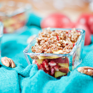 Raw Nectarine Crisp with Pomegranate and a Date-Nut Streusel