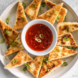 Coconut Crusted Tofu with Sweet Chili Dipping Sauce.