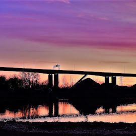 Luscious Lavender by Kathy Woods Booth - Buildings & Architecture Bridges & Suspended Structures ( dawn, riverside, waterscape, reflections, bridge, daybreak, lavender, river )