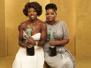 Photo: LOS ANGELES, CA - JANUARY 29:  (EXCLUSIVE COVERAGE) Viola Davis and Octavia Spencer pose during The 18th Annual Screen Actors Guild Awards broadcast on TNT/TBS at The Shrine Auditorium on January 29, 2012 in Los Angeles, California. (Photo by Kevin Mazur/WireImage) 22005_006_0321_R.jpg *** Local Caption *** Viola Davis; Octavia Spencer