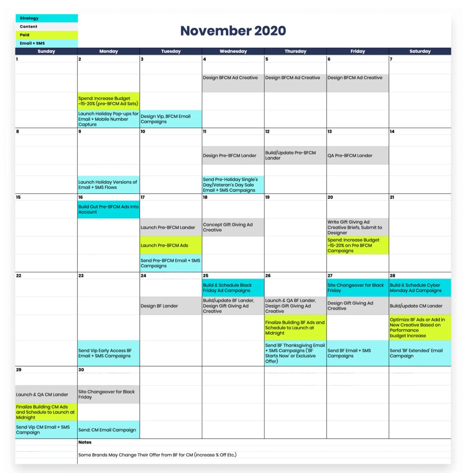 Guide to Setup Store for Black Friday Marketing- make a promotional content calendar