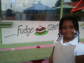 Photo: Fudge cake sign. Kaleya would not get too close to the bench for fear of bugs.