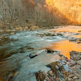 River Ablaze by Kevin Frick - Landscapes Waterscapes ( orange, west virginia, river )