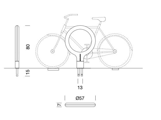 DE technische tekening van de Key Fietsenstaander uit de collectie van Urbidermis by Santa & Cole