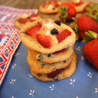 Strawberry-Blueberry White Chocolate Chip Cookies.