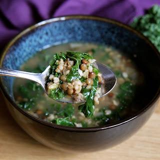 Freekeh Soup with Du Puy Lentils and Kale.
