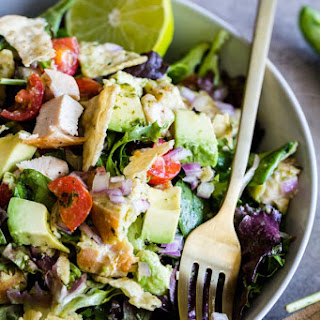 Guacamole Greens Salad with Cilantro Lime Jalapeno Vinaigrette