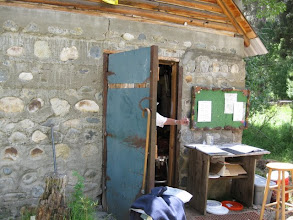 Photo: The infamous cabin where the 5 gal resupply containers are catalogued and kept.  Things have changed a lot since 2002 when they kept no record of what came in or went out!  I received an email saying my container had already arrived prior to leaving home.