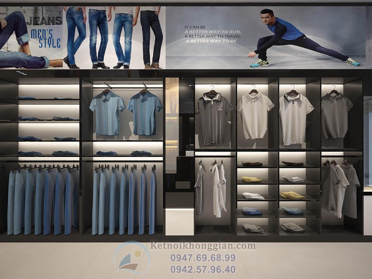 thiết kế cửa hàng thời trang nam đa dạng về nội thất