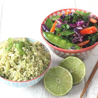 Thai Broccoli & Cauliflower Rice with Stir Fried Veggies.