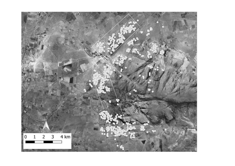 The ancient homesteads at Suikerbosrand are shown against an aerial photograph from 1961. The two rectangles show the footprint of the LiDAR imagery. Picture: KARIM SADR