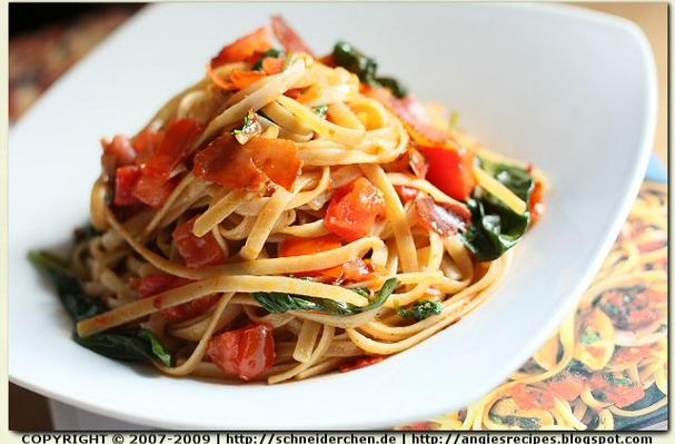 Truffle Linguine with Tomatoes and Pancetta Recipe
