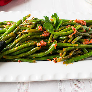 Italian Green Beans with Tomatoes and Garlic.