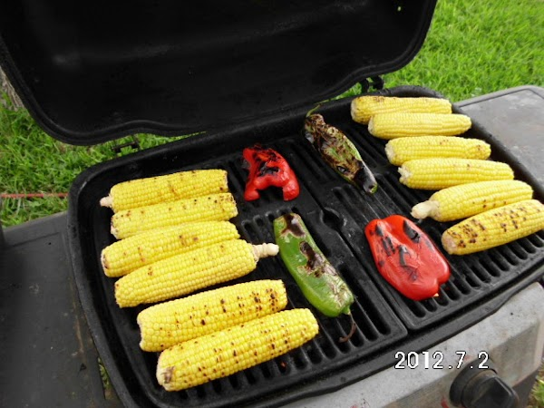 Grilling the corn is optional, but you WILL want to grill or roast peppers....