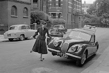 vrouw lijkt schuinstaande auto omver te duwen