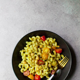 Chickpea Pesto Pasta Salad.