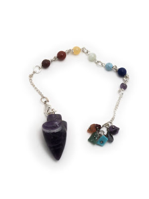 Ametist, pendel med chakrastenar