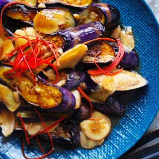 Kylie Kwong's stir-fried eggplant with chilli and ginger.