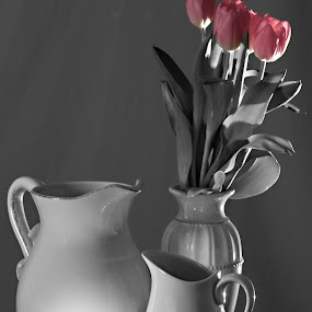 Light Peeking in from the Window by Sherry Hallemeier - Artistic Objects Still Life ( candle, vase, selective color, still life, large pitcher, pitcher, small pitcher, pink, bulbs, tulips, flowers, flower arrangement,  )