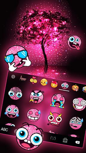 Neon Pink Galaxy Keyboard Theme screenshot 3
