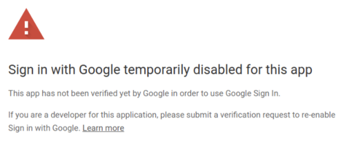 Sign in with Google temporarily disabled window