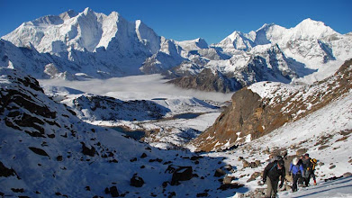 Photo: Kharta Valley, climbing high above the inversion below to reach the Lalung La on the hottest day of the trek ...