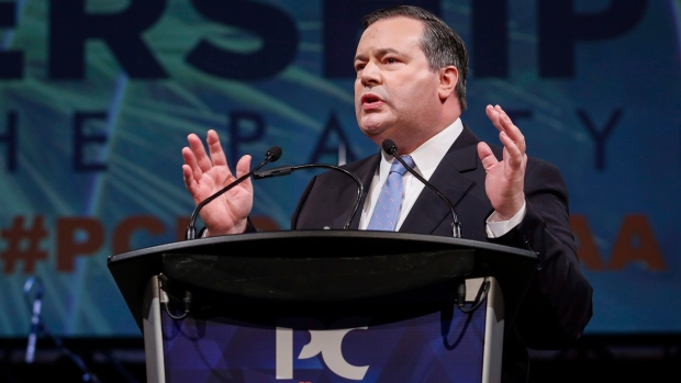 Jason Kenney delivers his victory speech at the Alberta PC Party leadership convention in Calgary on Saturday.