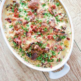 Creamy Chicken and Mushroom Quinoa Casserole.