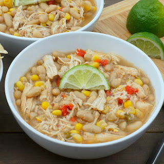 Slow-Cooker Chicken, Corn, + White Bean Chili