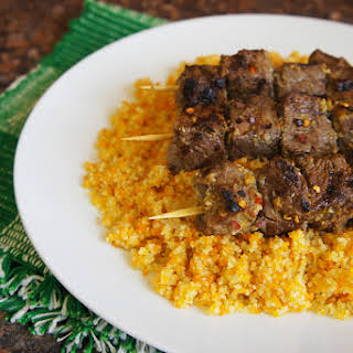 Tri-Color Couscous with grilled Beef Skewers.