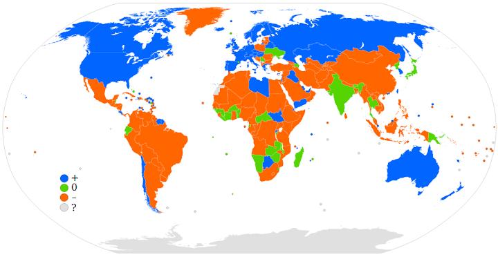 Grafik Weltkarte: Nettomigrationsraten für 2006.