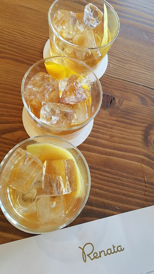 Renata's Old Fashioned Flight with rye-demerara, bourbon-maple, and scotch-honey