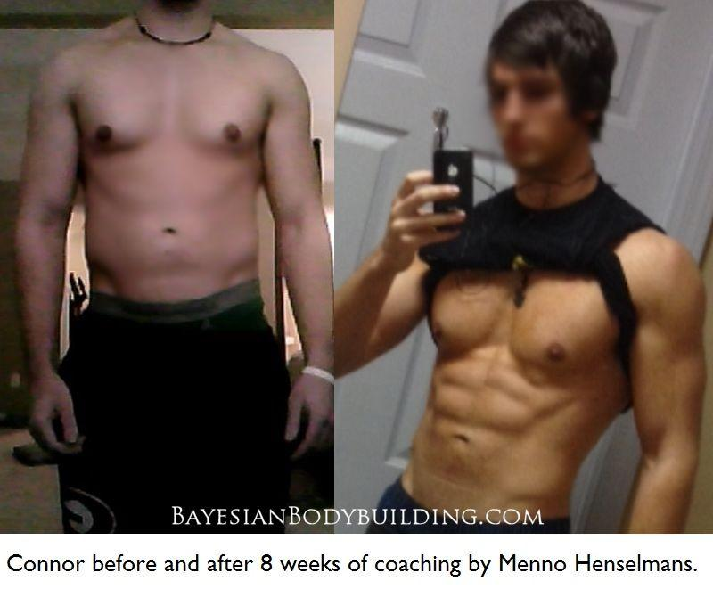 Connor before and after 8 weeks of coaching by Menno Henselmans