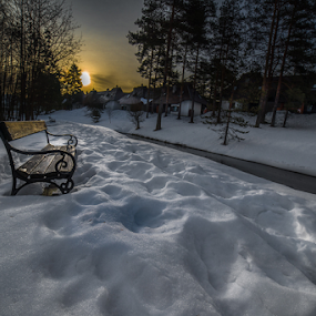 Zlatibor by Branislav Rupar - Landscapes Weather ( samyang 14mm f2.8, mountains, dawn, cold, bench, snow, nikon d600, house, morning, sun )