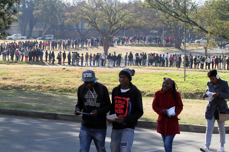 Thousands of job seekers queue outside the Alberton Civic Centre to attend the Youth Job Creation Initiative in 2015. Picture: SOWETAN